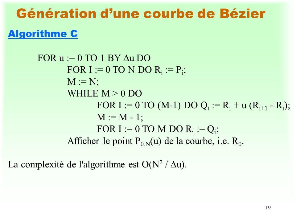Génération d'une courbe de Bézier