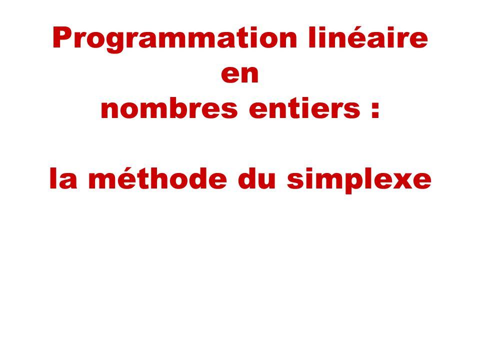 Programmation linéaire en nombres entiers : la méthode du simplexe