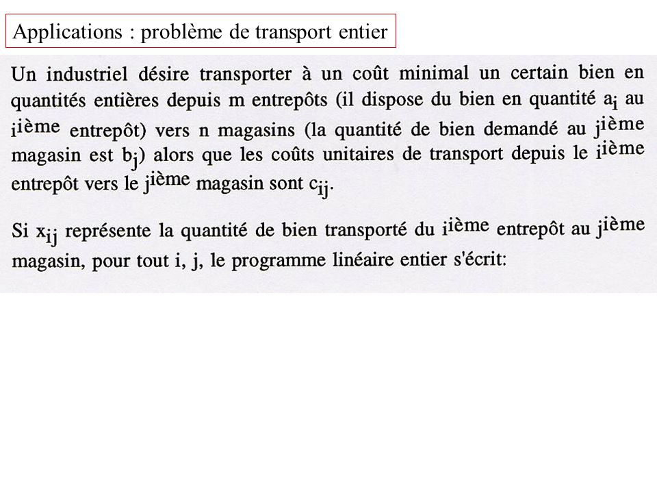 Applications : problème de transport entier