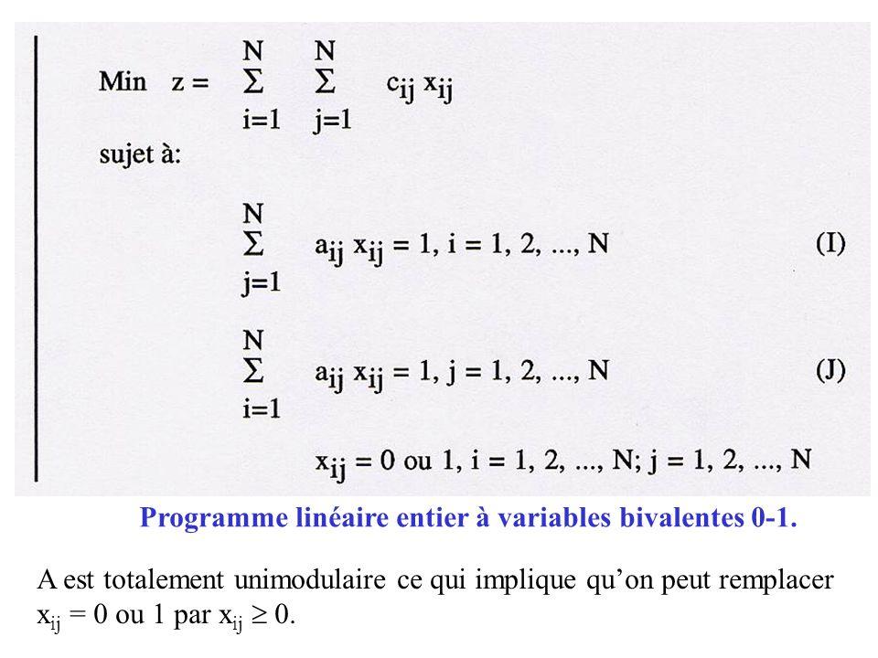 Programme linéaire entier à variables bivalentes 0-1.