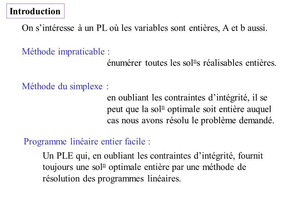 Introduction On s'intéresse à un PL où les variables sont entières, A et b aussi. Méthode impraticable :