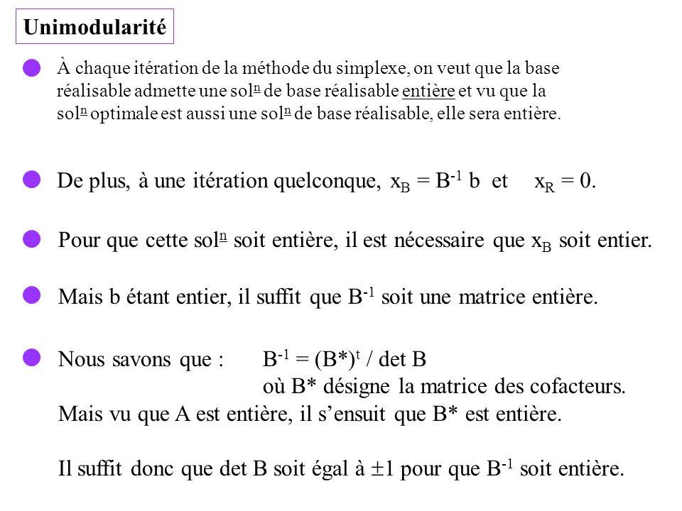 De plus, à une itération quelconque, xB = B-1 b et xR = 0.