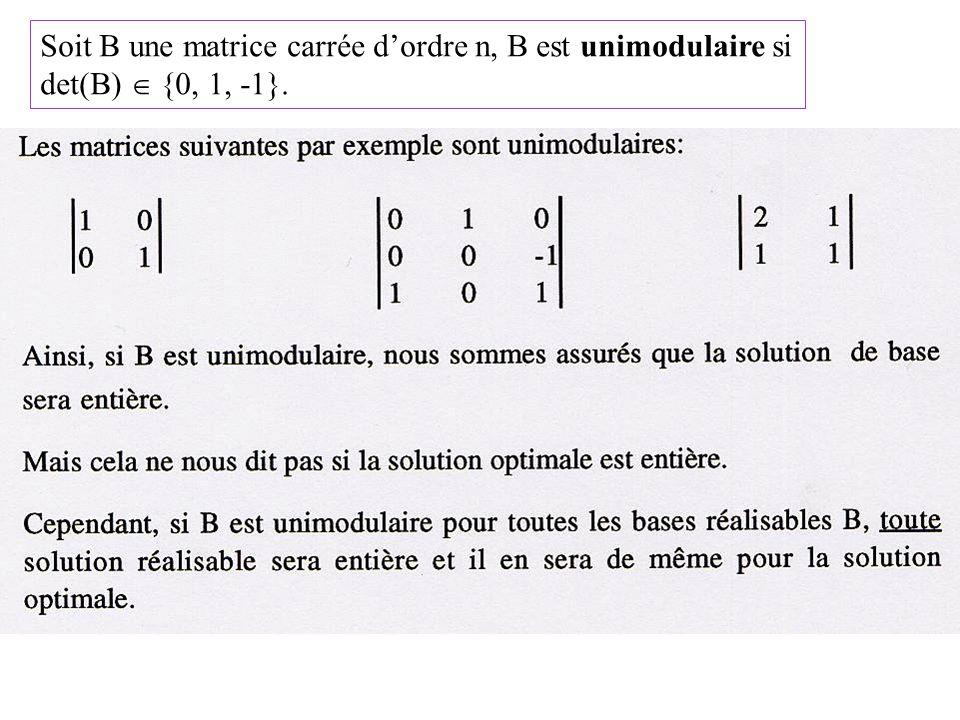 Soit B une matrice carrée d'ordre n, B est unimodulaire si