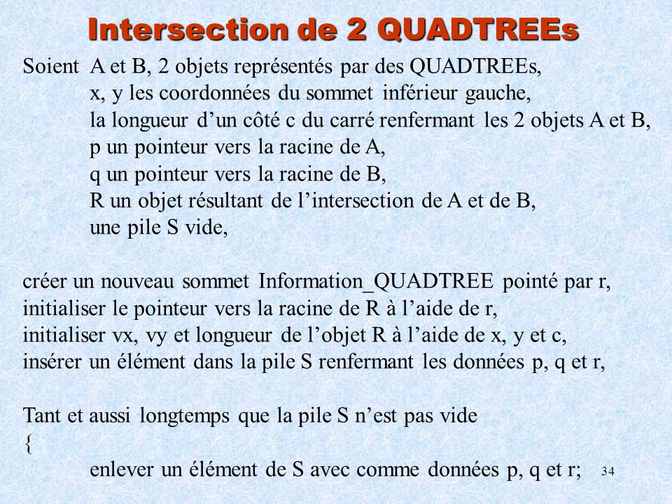 Intersection de 2 QUADTREEs