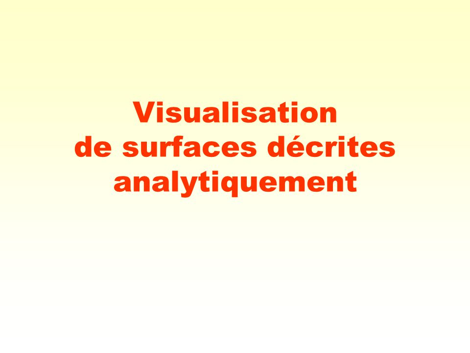 Visualisation de surfaces décrites analytiquement