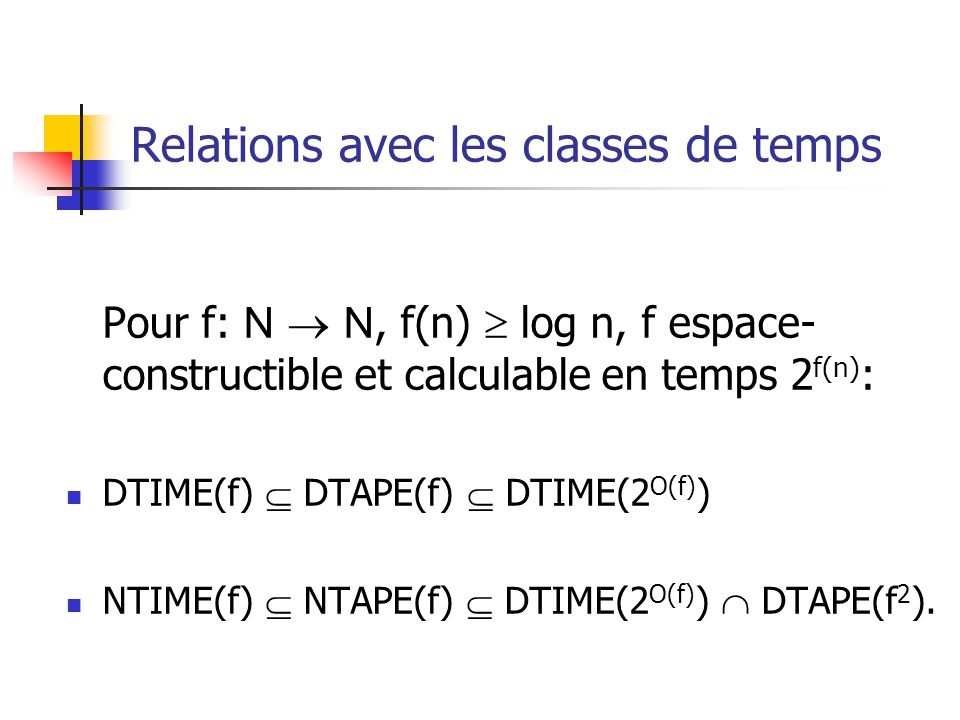 Relations avec les classes de temps