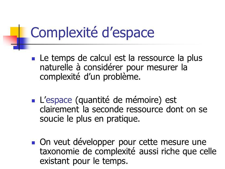 Complexité d'espace Le temps de calcul est la ressource la plus naturelle à considérer pour mesurer la complexité d'un problème.