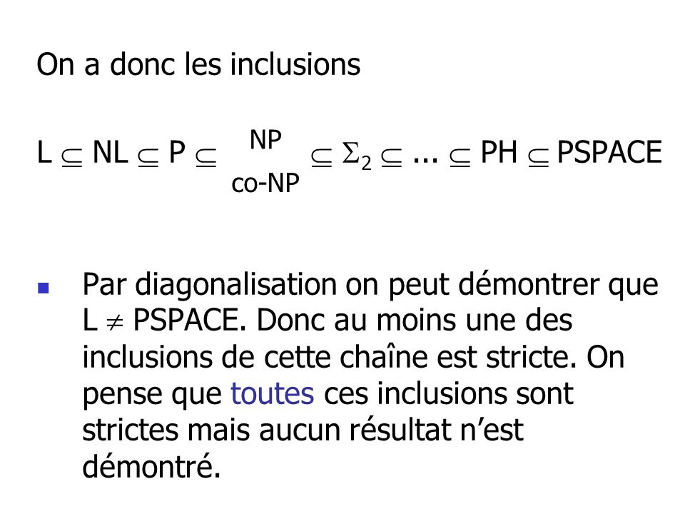 On a donc les inclusions L  NL  P   2  ...  PH  PSPACE