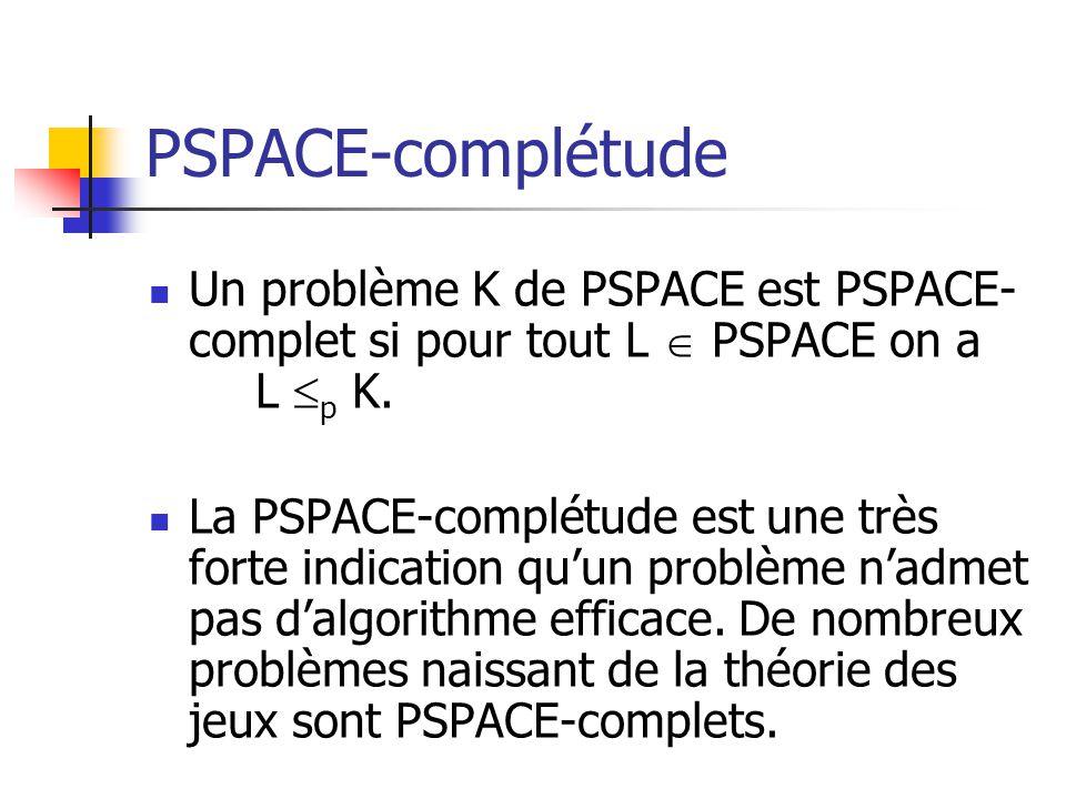 PSPACE-complétude Un problème K de PSPACE est PSPACE-complet si pour tout L  PSPACE on a L p K.
