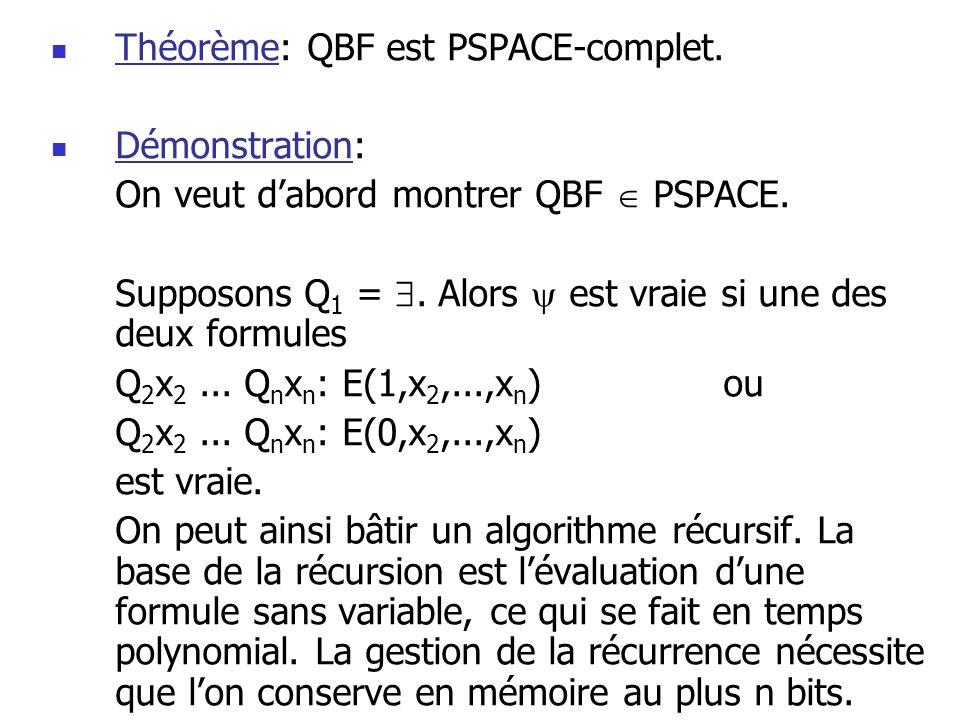 Théorème: QBF est PSPACE-complet.