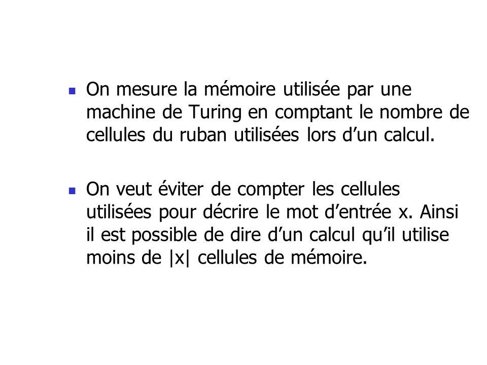 On mesure la mémoire utilisée par une machine de Turing en comptant le nombre de cellules du ruban utilisées lors d'un calcul.