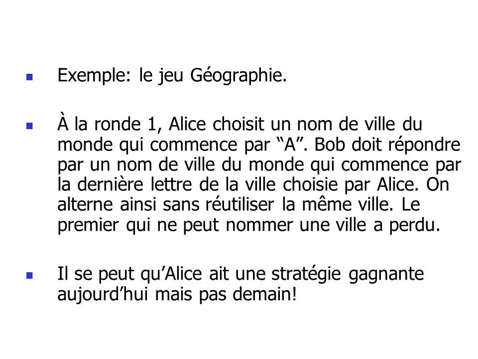 Exemple: le jeu Géographie.