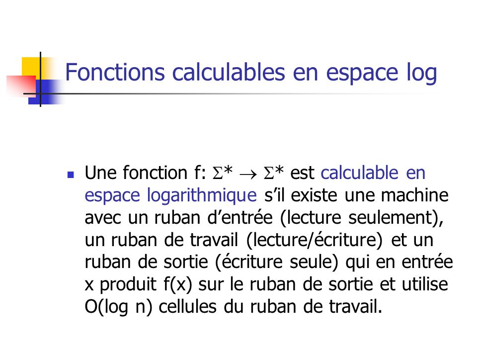 Fonctions calculables en espace log