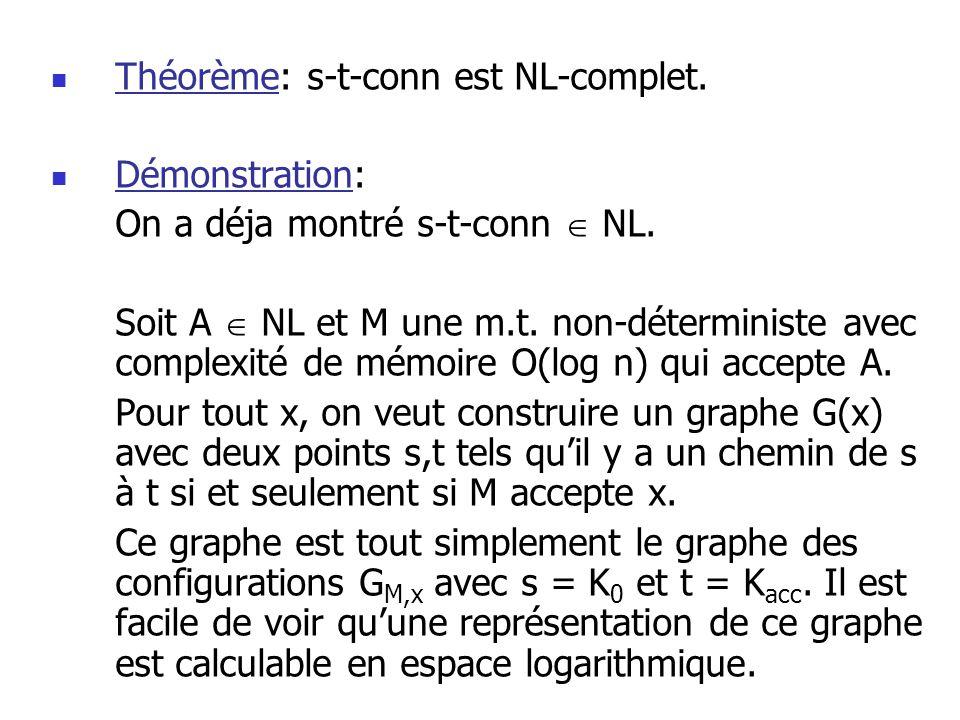 Théorème: s-t-conn est NL-complet.
