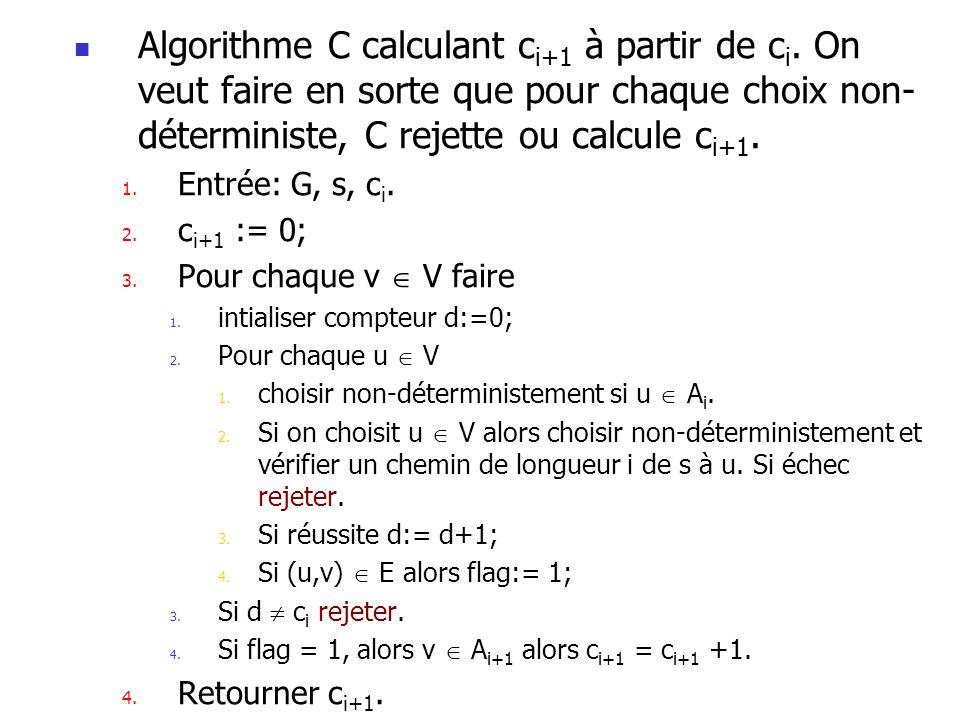 Algorithme C calculant ci+1 à partir de ci