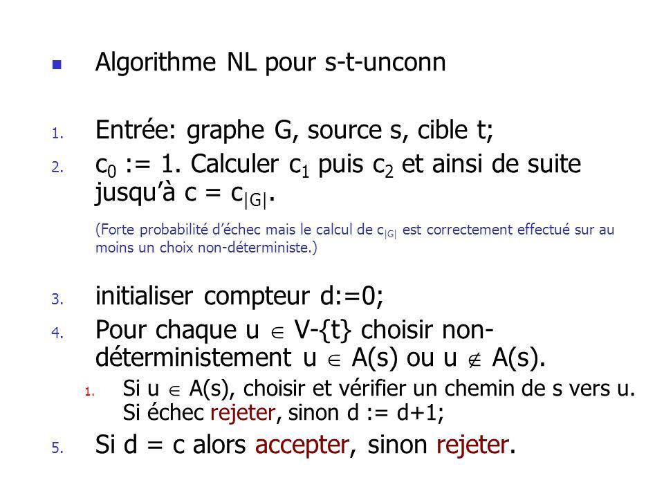 Algorithme NL pour s-t-unconn Entrée: graphe G, source s, cible t;