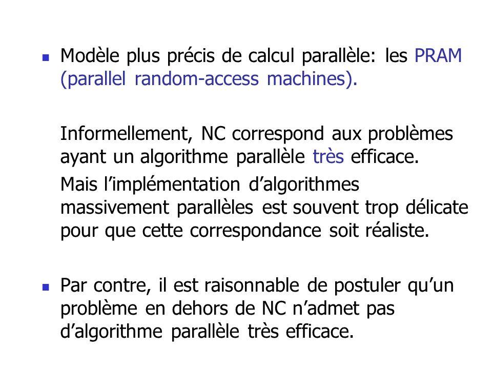 Modèle plus précis de calcul parallèle: les PRAM (parallel random-access machines).