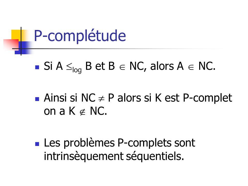 P-complétude Si A log B et B  NC, alors A  NC.