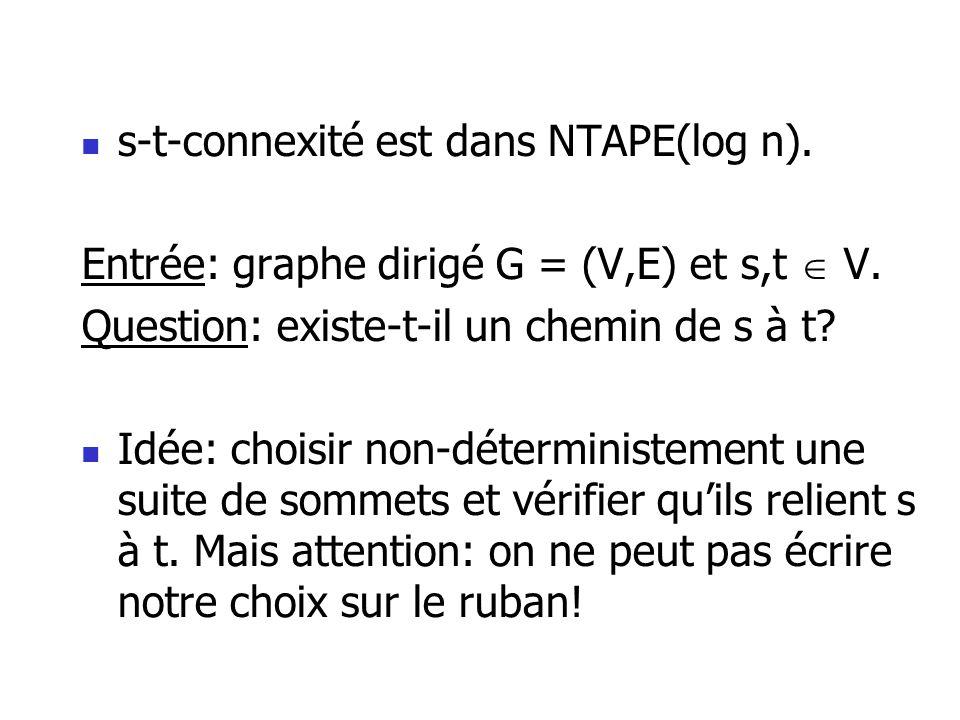 s-t-connexité est dans NTAPE(log n).