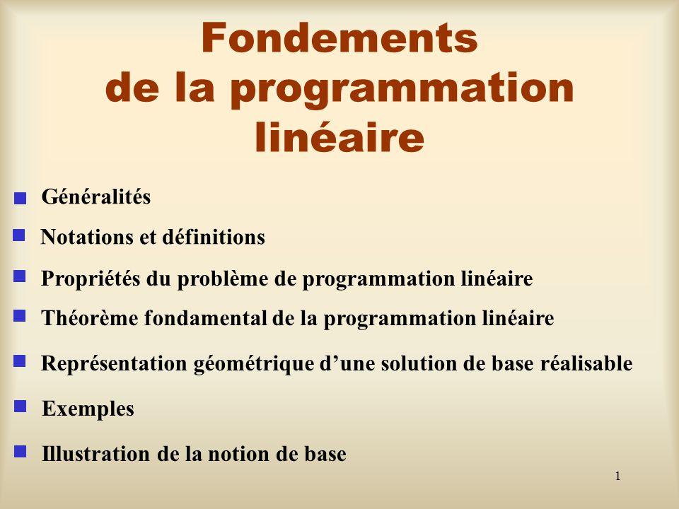 Fondements de la programmation linéaire