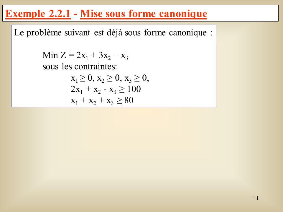 Exemple 2.2.1 - Mise sous forme canonique
