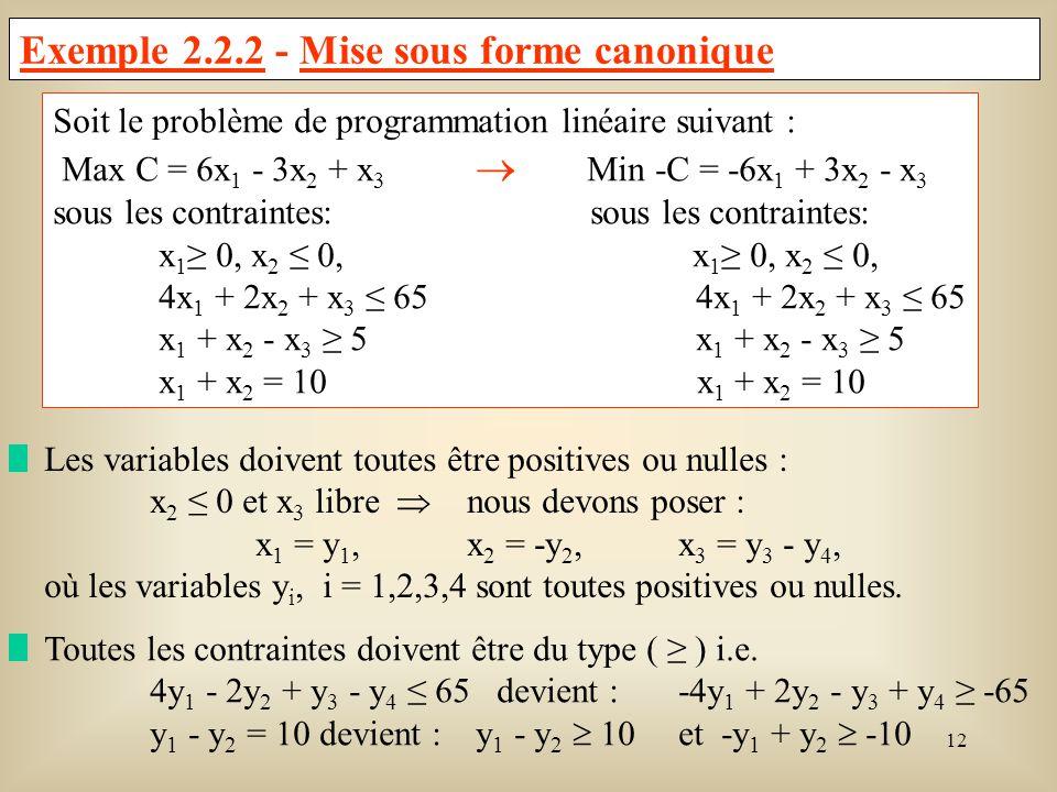 Exemple 2.2.2 - Mise sous forme canonique