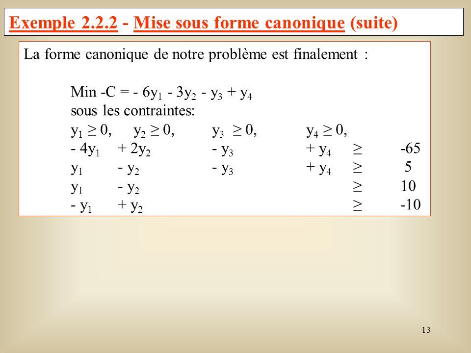 Exemple 2.2.2 - Mise sous forme canonique (suite)