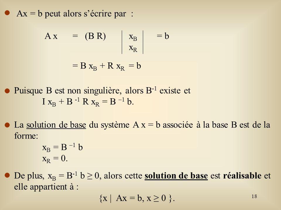 Ax = b peut alors s'écrire par :