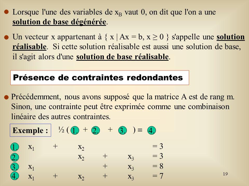 Lorsque l une des variables de xB vaut 0, on dit que l on a une