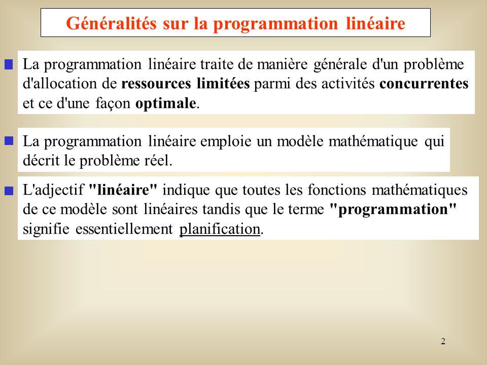 Généralités sur la programmation linéaire