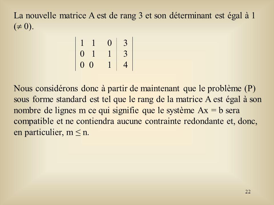 La nouvelle matrice A est de rang 3 et son déterminant est égal à 1