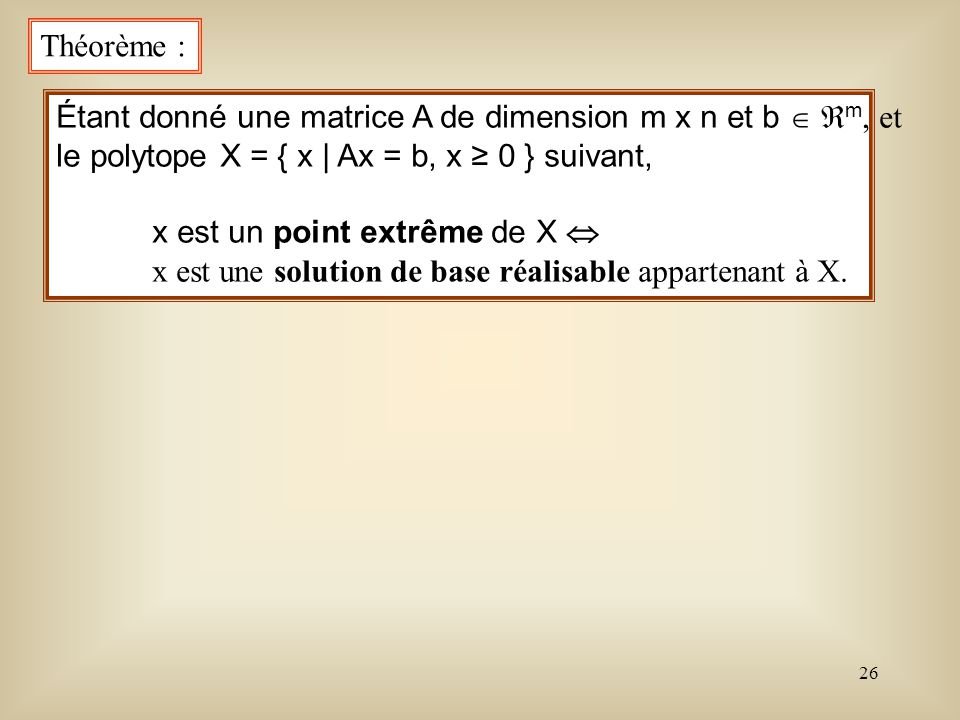 Théorème : Étant donné une matrice A de dimension m x n et b  m, et. le polytope X = { x | Ax = b, x ≥ 0 } suivant,