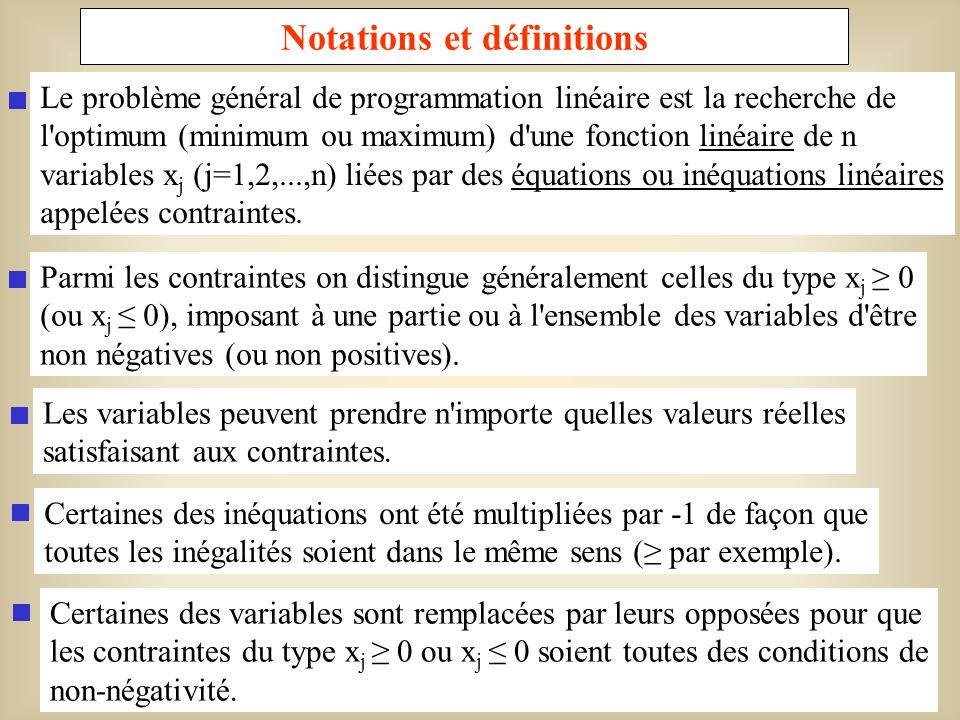 Notations et définitions