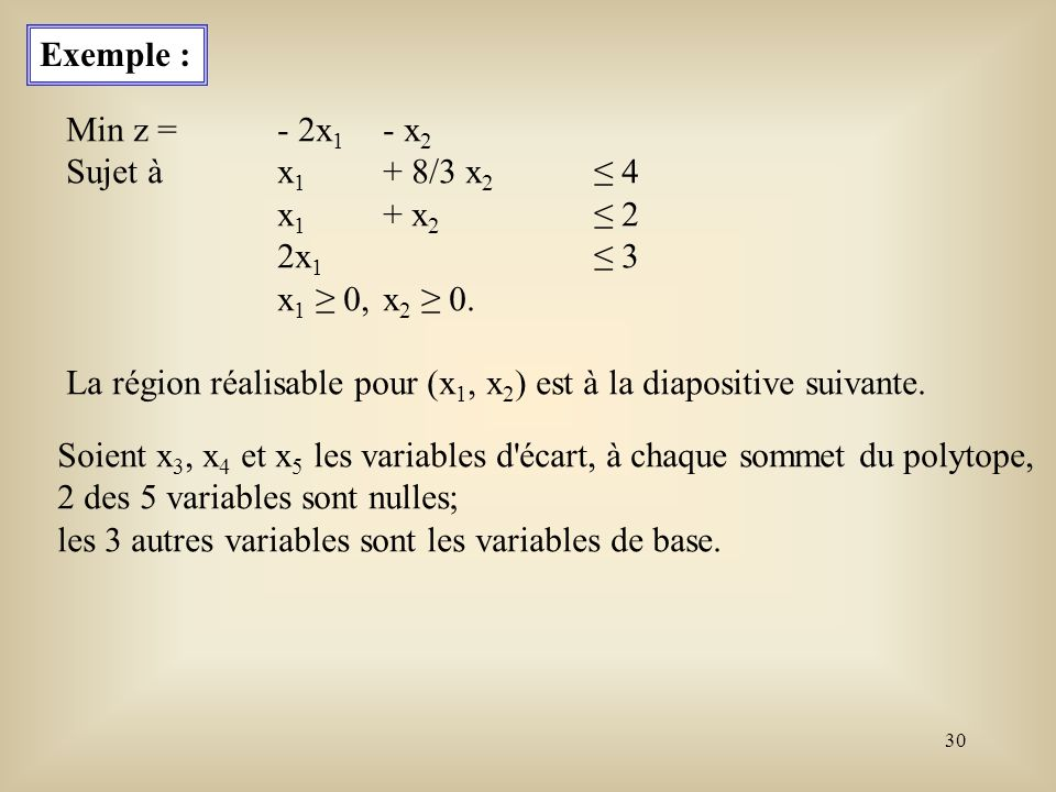 Exemple : Min z = - 2x1 - x2. Sujet à x1 + 8/3 x2 ≤ 4. x1 + x2 ≤ 2. 2x1 ≤ 3. x1 ≥ 0, x2 ≥ 0.