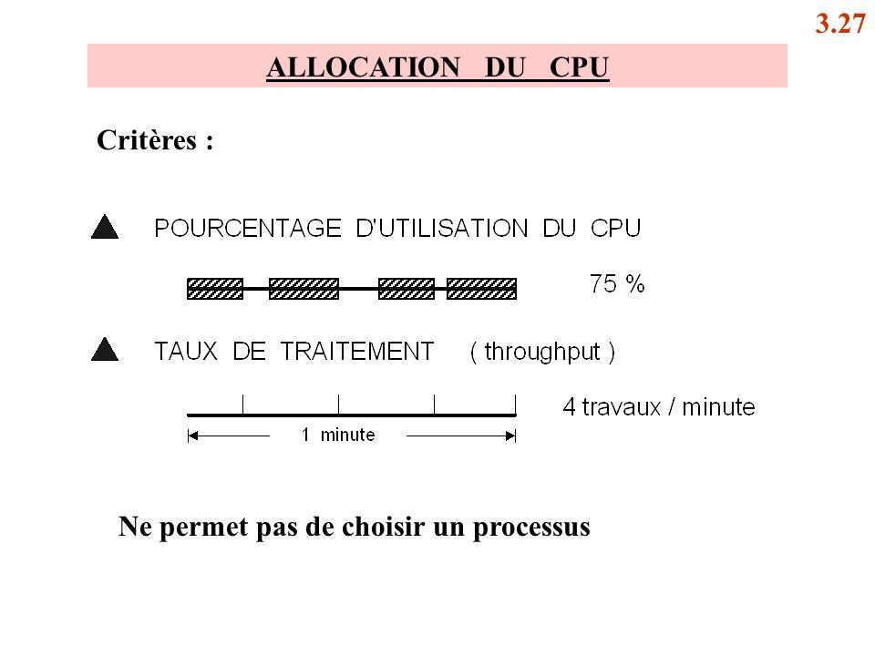 3.27 ALLOCATION DU CPU Critères : Ne permet pas de choisir un processus