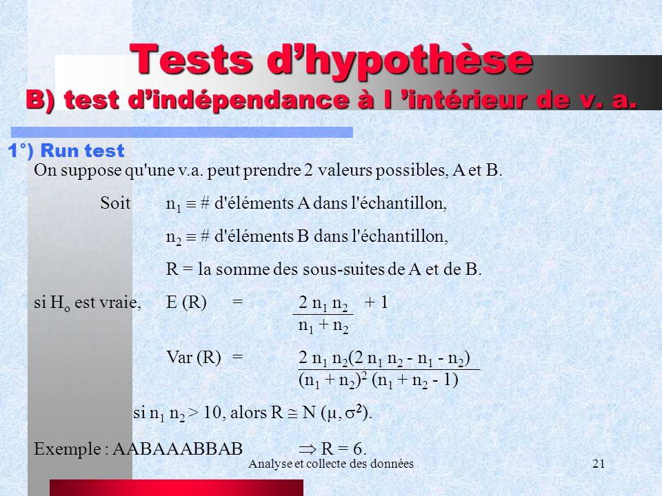 Tests d'hypothèse B) test d'indépendance à l 'intérieur de v. a.