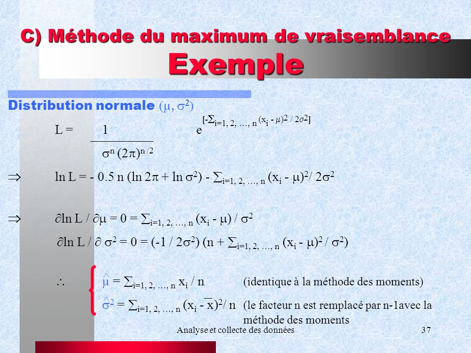 C) Méthode du maximum de vraisemblance Exemple