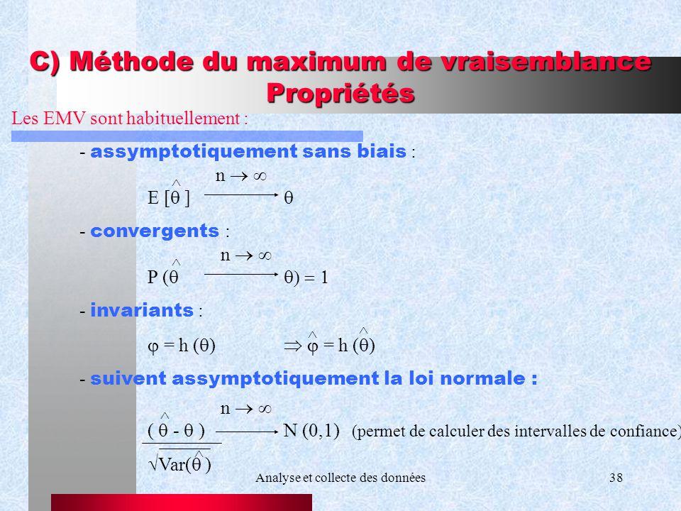 C) Méthode du maximum de vraisemblance Propriétés