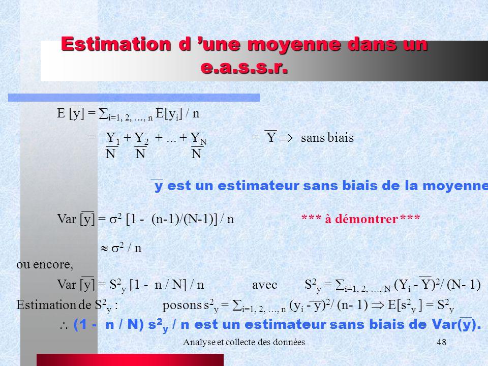 Estimation d 'une moyenne dans un e.a.s.s.r.