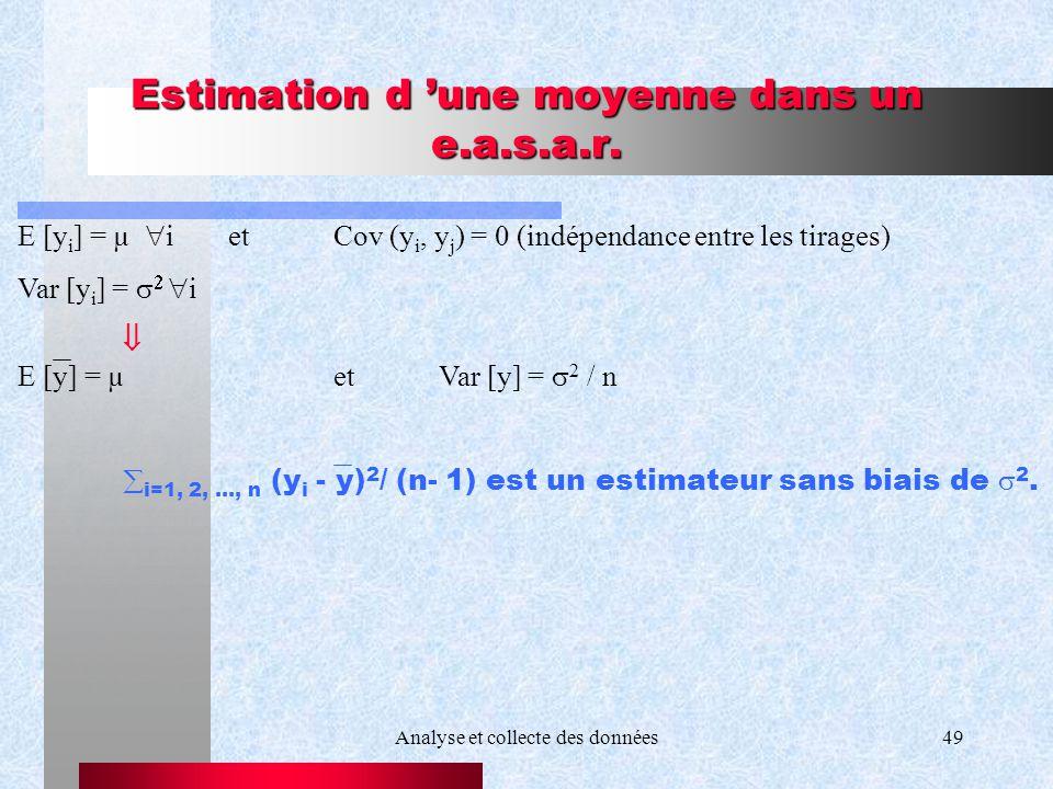 Estimation d 'une moyenne dans un e.a.s.a.r.