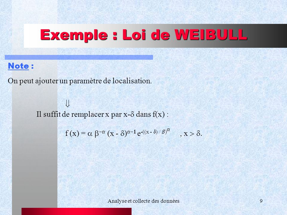 Exemple : Loi de WEIBULL
