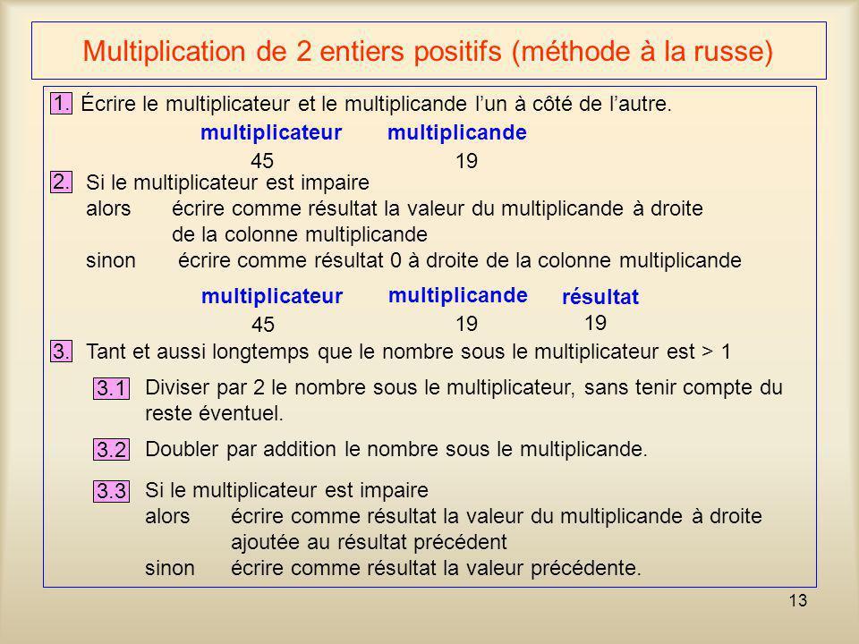 Multiplication de 2 entiers positifs (méthode à la russe)
