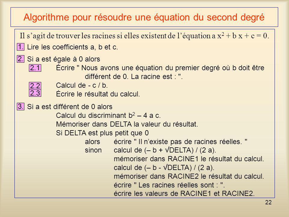 Algorithme pour résoudre une équation du second degré