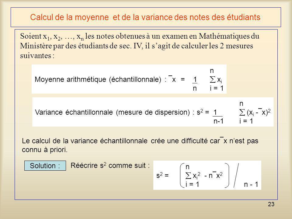 Calcul de la moyenne et de la variance des notes des étudiants