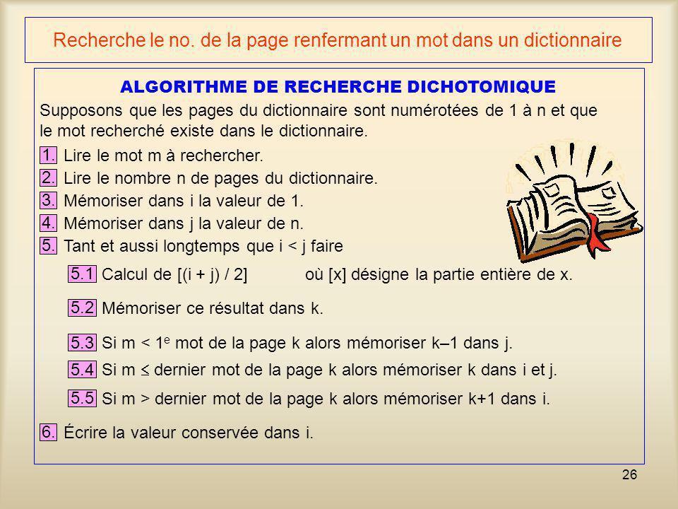 Recherche le no. de la page renfermant un mot dans un dictionnaire