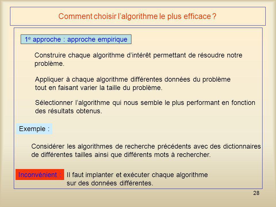 Comment choisir l'algorithme le plus efficace