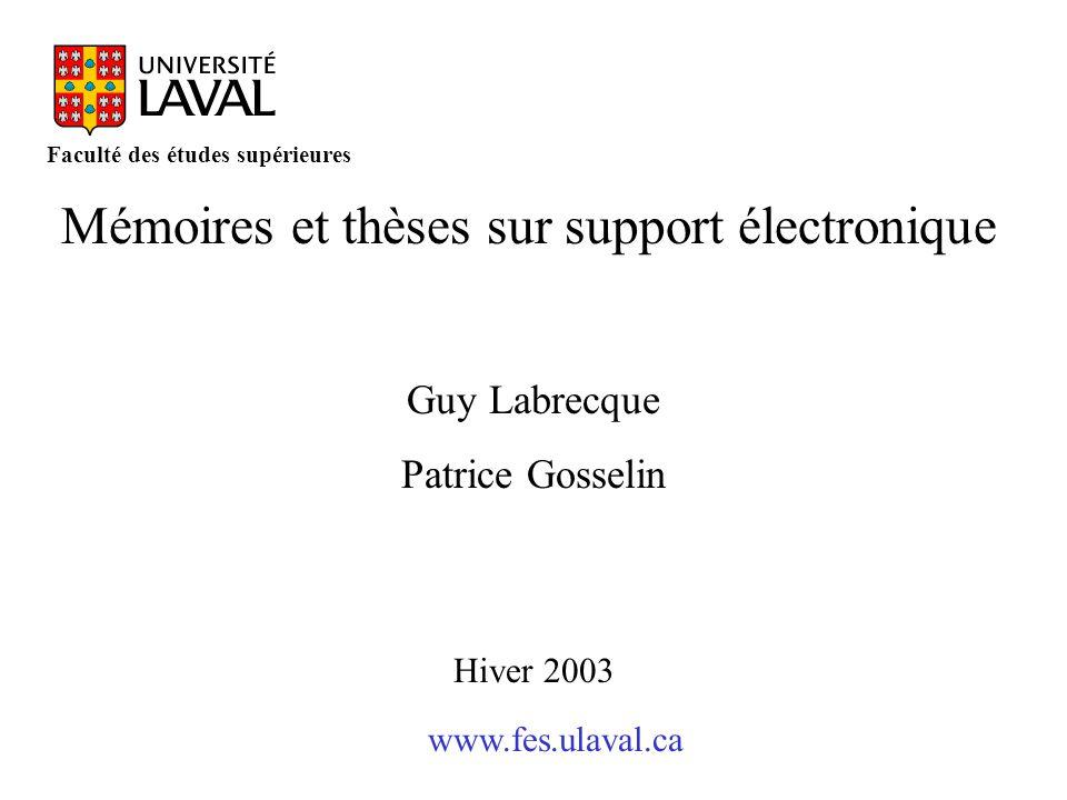 Mémoires et thèses sur support électronique