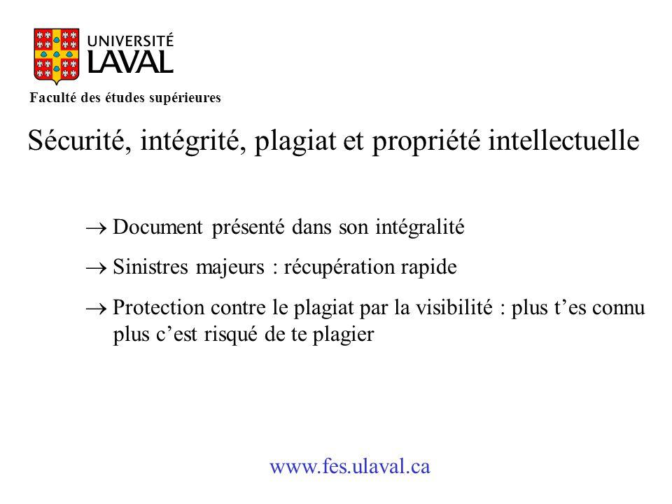 Sécurité, intégrité, plagiat et propriété intellectuelle