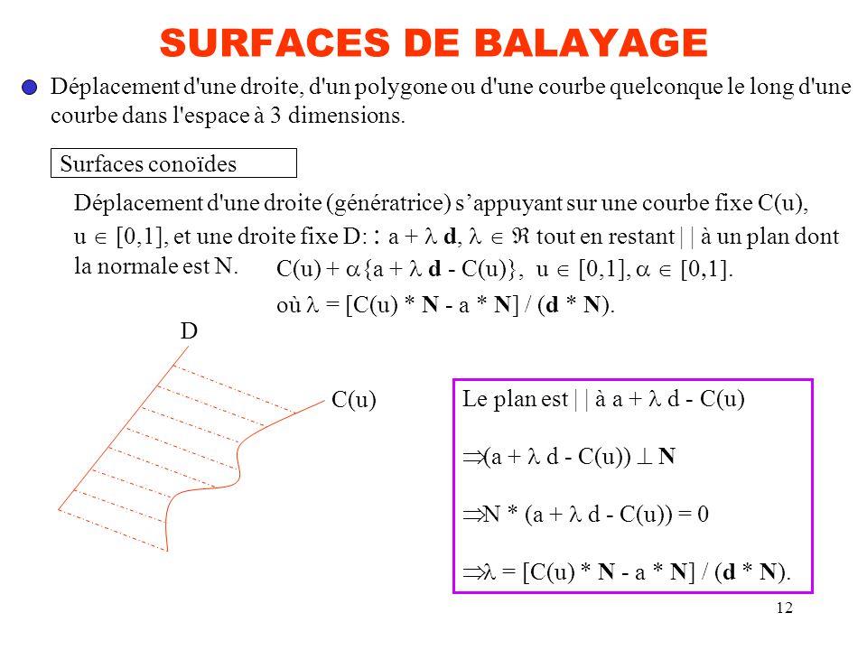 SURFACES DE BALAYAGE Déplacement d une droite, d un polygone ou d une courbe quelconque le long d une.