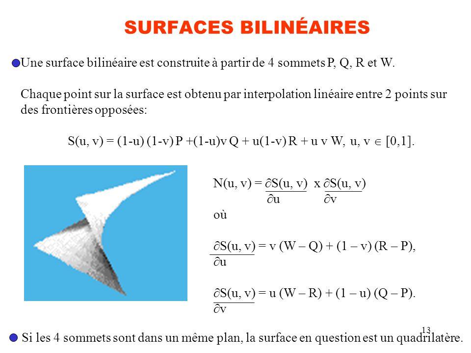 SURFACES BILINÉAIRES Une surface bilinéaire est construite à partir de 4 sommets P, Q, R et W.